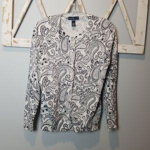 Karen Scott black & white paisley cardigan sweater